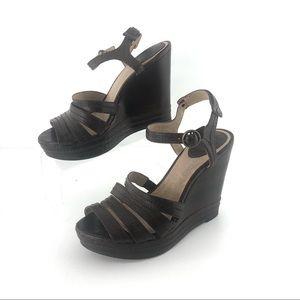 Frye brown corrina stitch wedge heels size 7